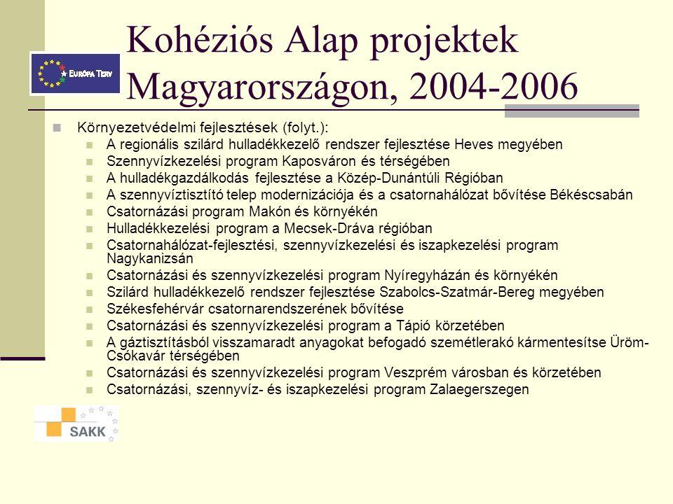 Kohéziós Alap projektek Magyarországon, 2004-2006 Közlekedési fejlesztések: Légiforgalmi ellenőrzési infrastruktúra fejlesztése Az M0 autóút keleti sz