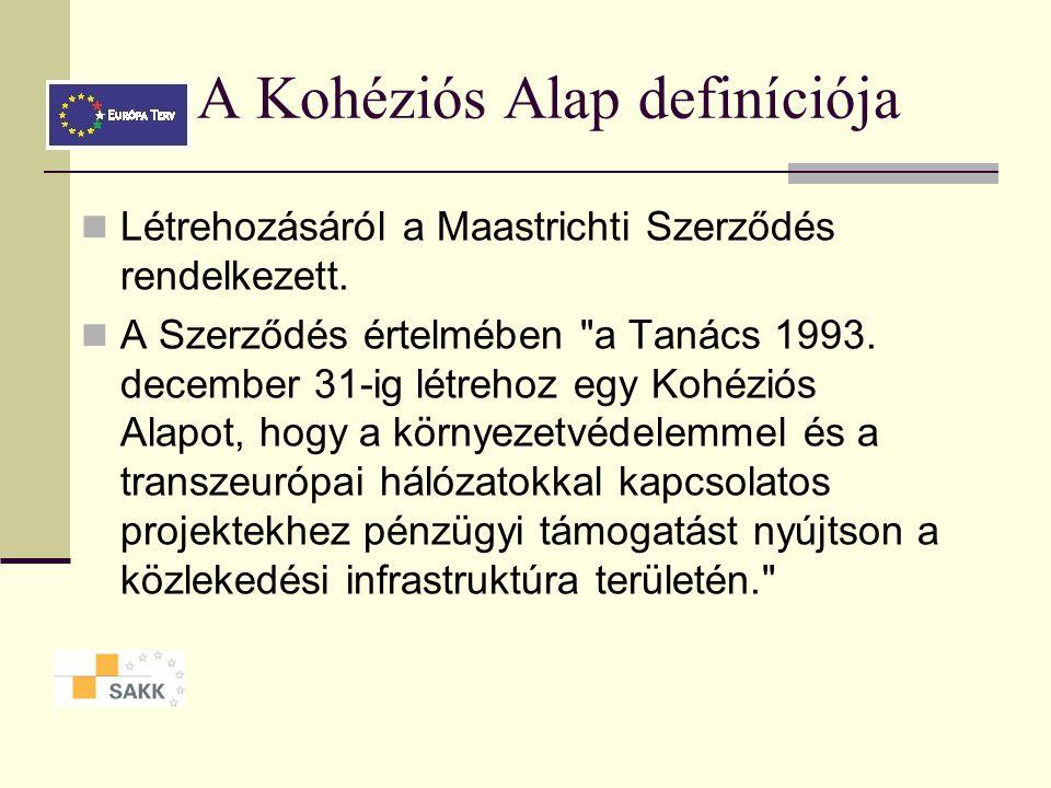 A Kohéziós Alap támogatási keretösszege Összes támogatás Magyarországnak 2000-2004: 1 milliárd € 2004-2006: 3 milliárd € 2007-2013:24 milliárd € ISPA,