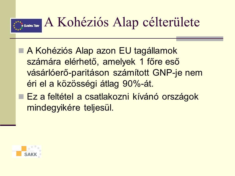 A Kohéziós Alap célterülete A Kohéziós Alap azon EU tagállamok számára elérhető, amelyek 1 főre eső vásárlóerő-paritáson számított GNP-je nem éri el a közösségi átlag 90%-át.