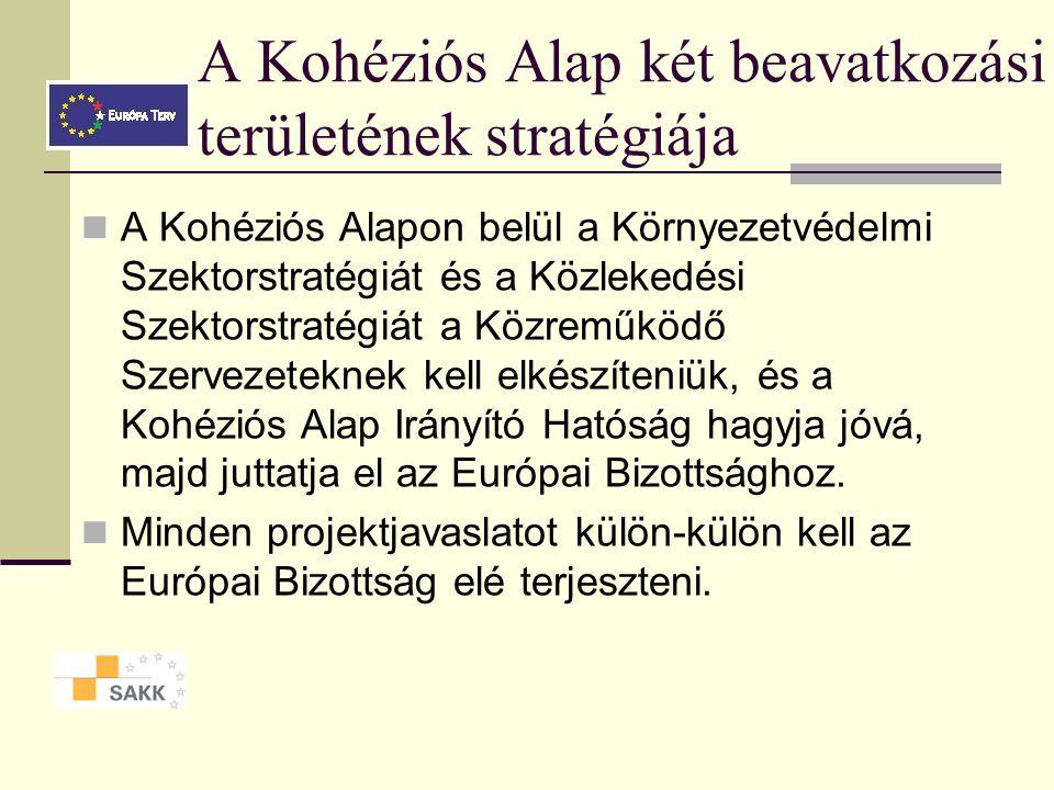 A Kohéziós Alap két beavatkozási területének stratégiája A Kohéziós Alapon belül a Környezetvédelmi Szektorstratégiát és a Közlekedési Szektorstratégiát a Közreműködő Szervezeteknek kell elkészíteniük, és a Kohéziós Alap Irányító Hatóság hagyja jóvá, majd juttatja el az Európai Bizottsághoz.