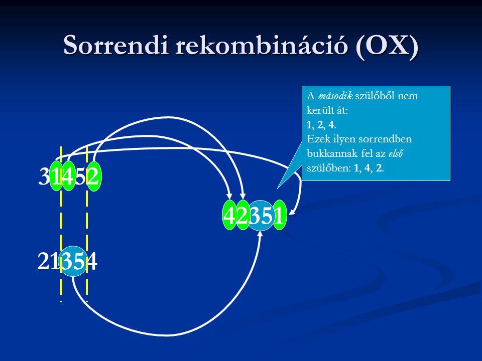 Sorrendi rekombináció (OX) 31452 21354 42351 A második szülőből nem került át: 1, 2, 4.