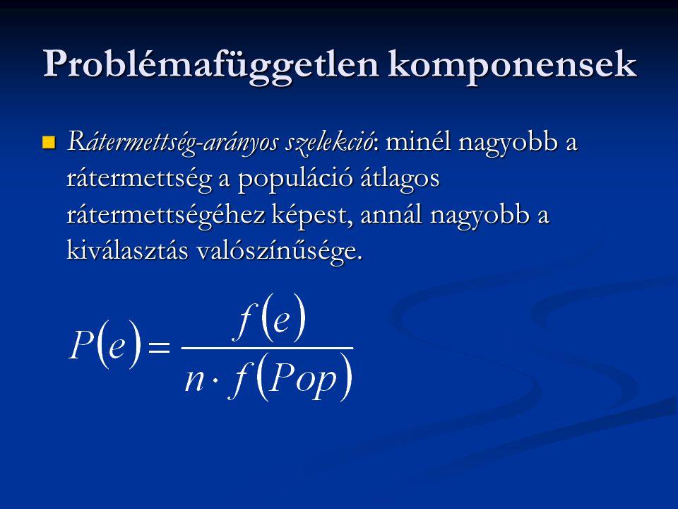Problémafüggetlen komponensek Rátermettség-arányos szelekció: minél nagyobb a rátermettség a populáció átlagos rátermettségéhez képest, annál nagyobb a kiválasztás valószínűsége.