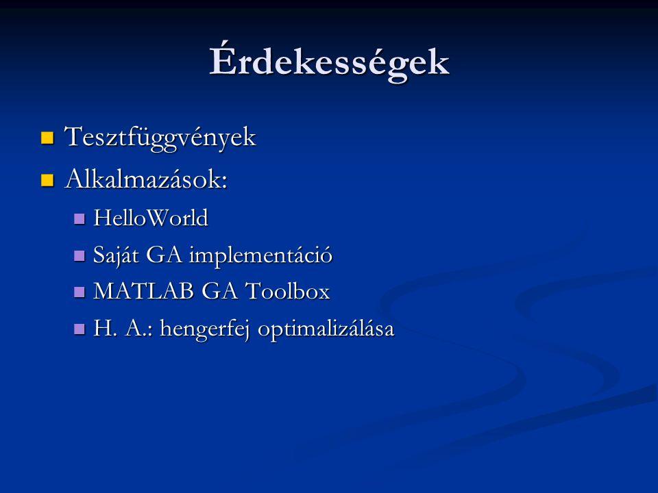 Érdekességek Tesztfüggvények Tesztfüggvények Alkalmazások: Alkalmazások: HelloWorld HelloWorld Saját GA implementáció Saját GA implementáció MATLAB GA Toolbox MATLAB GA Toolbox H.