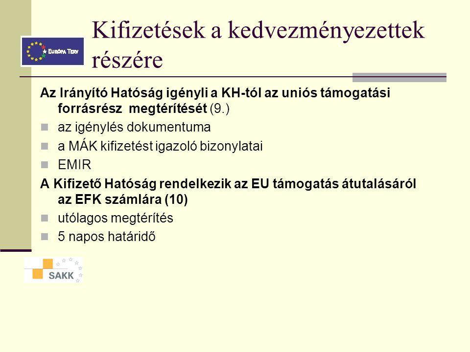 Kifizetések a kedvezményezettek részére Az Irányító Hatóság ellenőrzést követően jóváhagyja a kifizetéseket (EMIR) rendelkezik a hazai és uniós támogatás összegének az EFK számláról a lebonyolítási számlára utalásáról, (5., 6.) A KSz/IH rendelkezik a lebonyolítási számláról (7.) történő átutalásokról a már kifizetett számla támogatástartalmának megtérítéséről a kedvezményezett részére (8/A), vagy a még ki nem fizetett szállítói számla kiegyenlítéséről a kedvezményezett által átutalt saját forrásrész felhasználásával (8/B)
