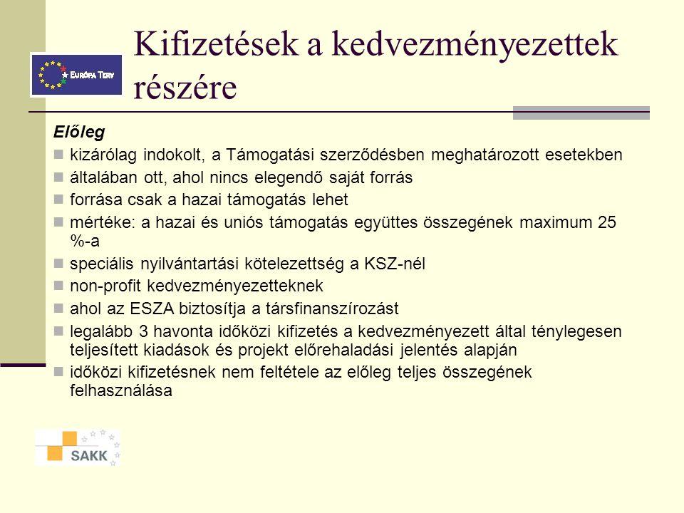 Kifizetések a kedvezményezettek részére Előleg kizárólag indokolt, a Támogatási szerződésben meghatározott esetekben általában ott, ahol nincs elegendő saját forrás forrása csak a hazai támogatás lehet mértéke: a hazai és uniós támogatás együttes összegének maximum 25 %-a speciális nyilvántartási kötelezettség a KSZ-nél non-profit kedvezményezetteknek ahol az ESZA biztosítja a társfinanszírozást legalább 3 havonta időközi kifizetés a kedvezményezett által ténylegesen teljesített kiadások és projekt előrehaladási jelentés alapján időközi kifizetésnek nem feltétele az előleg teljes összegének felhasználása