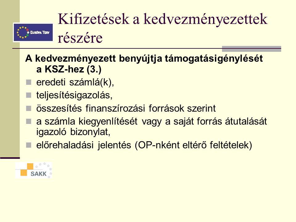 Kifizetések a kedvezményezettek részére A kedvezményezett benyújtja támogatásigénylését a KSZ-hez (3.) eredeti számlá(k), teljesítésigazolás, összesítés finanszírozási források szerint a számla kiegyenlítését vagy a saját forrás átutalását igazoló bizonylat, előrehaladási jelentés (OP-nként eltérő feltételek)