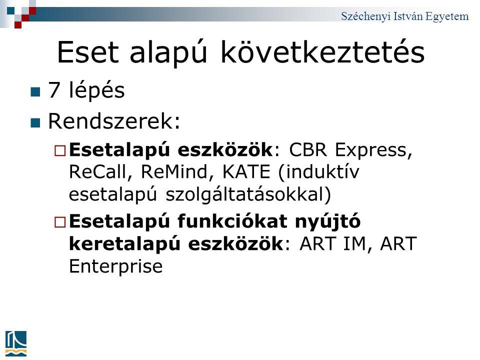 Széchenyi István Egyetem Eset alapú következtetés 7 lépés Rendszerek:  Esetalapú eszközök: CBR Express, ReCall, ReMind, KATE (induktív esetalapú szol