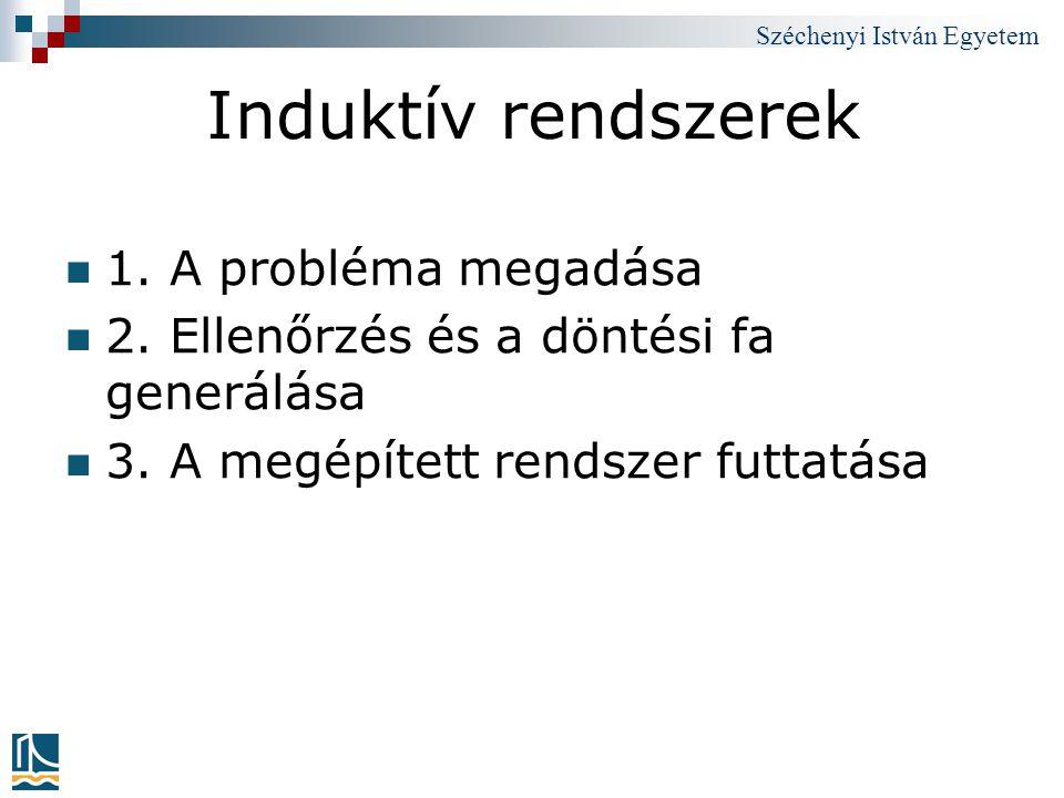 Széchenyi István Egyetem Induktív rendszerek 1. A probléma megadása 2. Ellenőrzés és a döntési fa generálása 3. A megépített rendszer futtatása