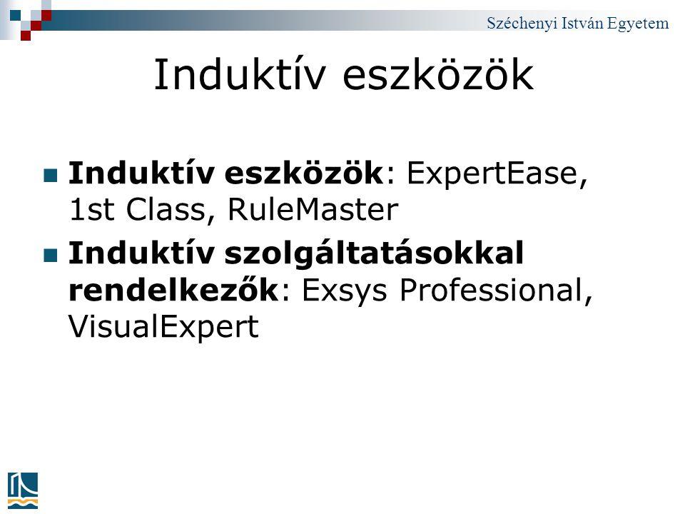 Széchenyi István Egyetem Induktív eszközök Induktív eszközök: ExpertEase, 1st Class, RuleMaster Induktív szolgáltatásokkal rendelkezők: Exsys Professi