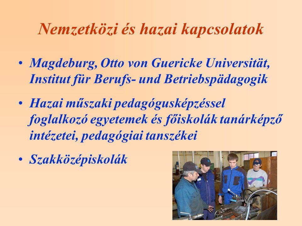 Nemzetközi és hazai kapcsolatok Magdeburg, Otto von Guericke Universität, Institut für Berufs- und Betriebspädagogik Hazai műszaki pedagógusképzéssel foglalkozó egyetemek és főiskolák tanárképző intézetei, pedagógiai tanszékei Szakközépiskolák