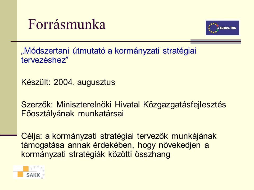 A kormányzati stratégiai tervezés módszertana A stratégia és a kapcsolódó fogalmak definíciója A kormányzati stratégiai menedzsment folyamata A straté