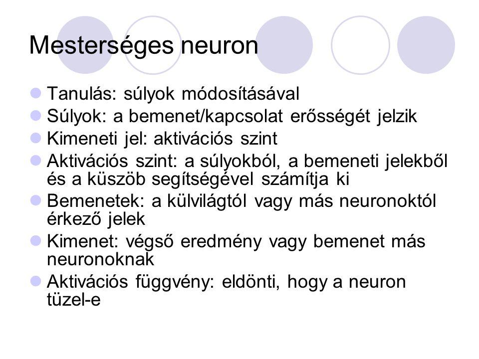 Mesterséges neuron Tanulás: súlyok módosításával Súlyok: a bemenet/kapcsolat erősségét jelzik Kimeneti jel: aktivációs szint Aktivációs szint: a súlyo