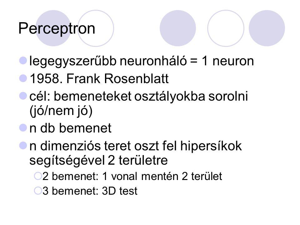 Perceptron legegyszerűbb neuronháló = 1 neuron 1958. Frank Rosenblatt cél: bemeneteket osztályokba sorolni (jó/nem jó) n db bemenet n dimenziós teret