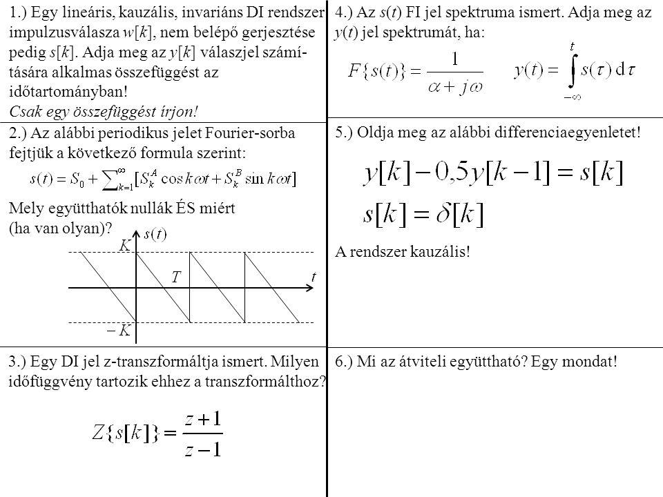 1.) Egy lineáris, kauzális, invariáns DI rendszer impulzusválasza w[k], nem belépő gerjesztése pedig s[k]. Adja meg az y[k] válaszjel számí- tására al