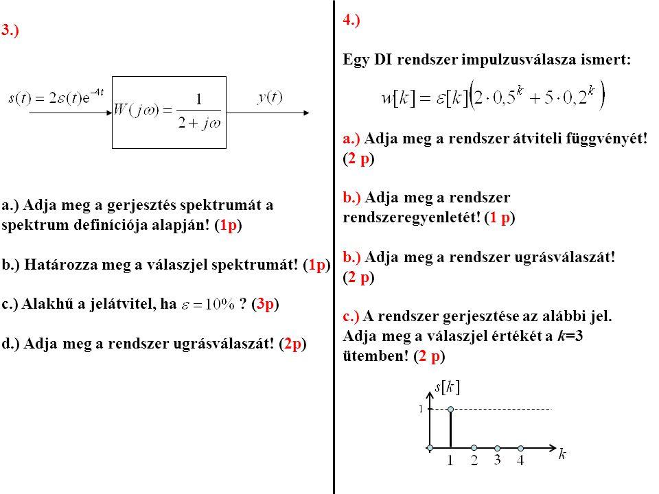 4.) Egy DI rendszer impulzusválasza ismert: a.) Adja meg a rendszer átviteli függvényét! (2 p) b.) Adja meg a rendszer rendszeregyenletét! (1 p) b.) A