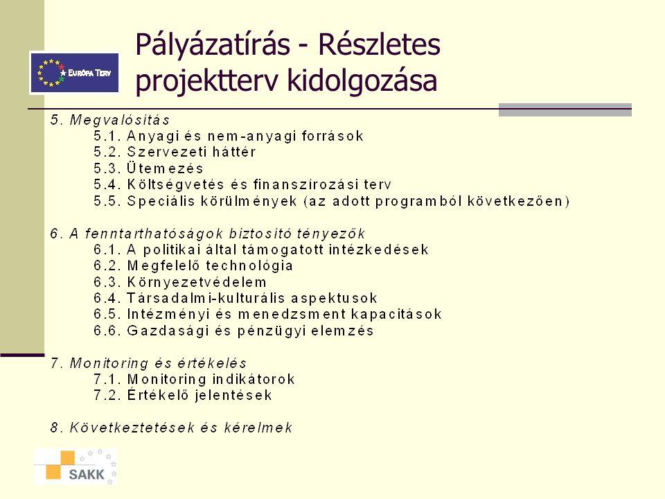 Pályázatírás - részletes projektterv kidolgozása  A PROJEKT DOKUMENTUM AJÁNLOTT FELÉPÍTÉSE AZ EU-BAN
