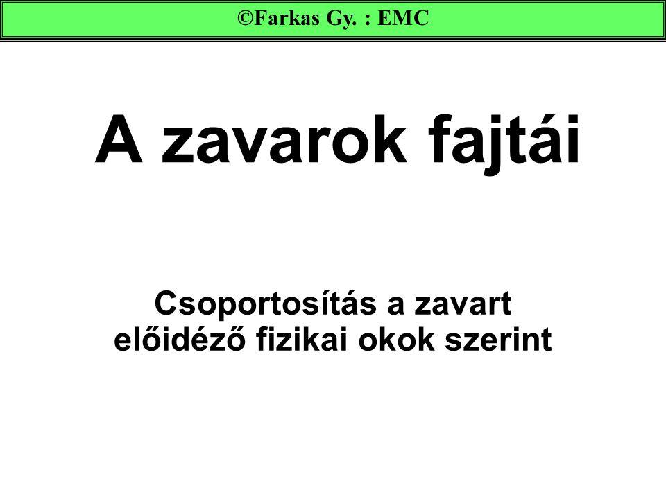 A zavarok fajtái Csoportosítás a zavart előidéző fizikai okok szerint ©Farkas Gy. : EMC