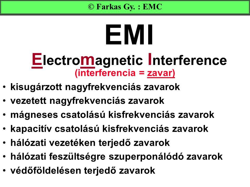 EMI E lectro m agnetic I nterference (interferencia = zavar) kisugárzott nagyfrekvenciás zavarok vezetett nagyfrekvenciás zavarok mágneses csatolású kisfrekvenciás zavarok kapacitív csatolású kisfrekvenciás zavarok hálózati vezetéken terjedő zavarok hálózati feszültségre szuperponálódó zavarok védőföldelésen terjedő zavarok © Farkas Gy.