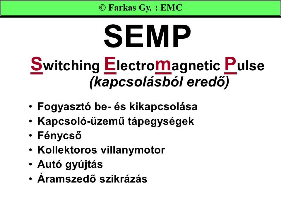 SEMP S witching E lectro m agnetic P ulse (kapcsolásból eredő) Fogyasztó be- és kikapcsolása Kapcsoló-üzemű tápegységek Fénycső Kollektoros villanymotor Autó gyújtás Áramszedő szikrázás © Farkas Gy.