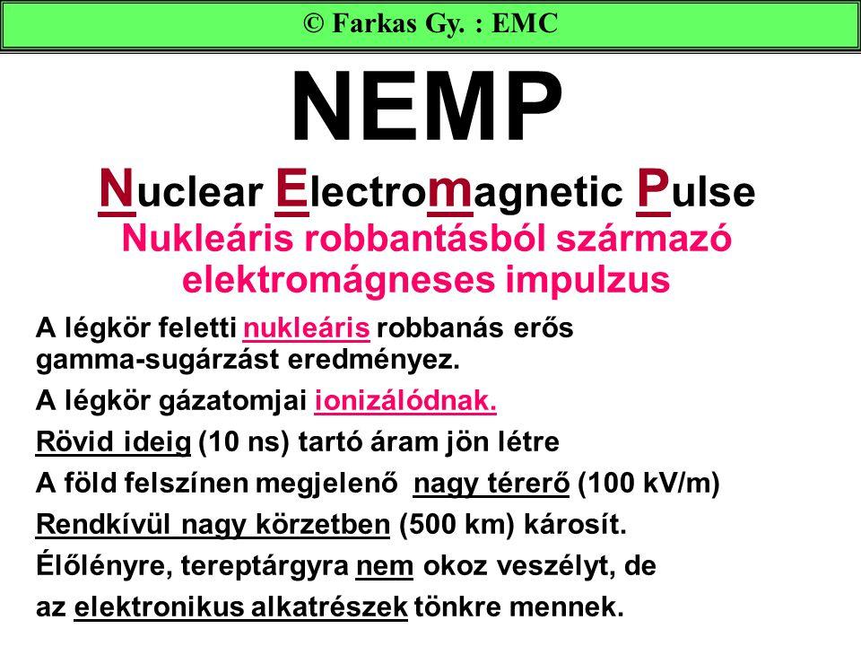 NEMP N uclear E lectro m agnetic P ulse Nukleáris robbantásból származó elektromágneses impulzus A légkör feletti nukleáris robbanás erős gamma-sugárzást eredményez.