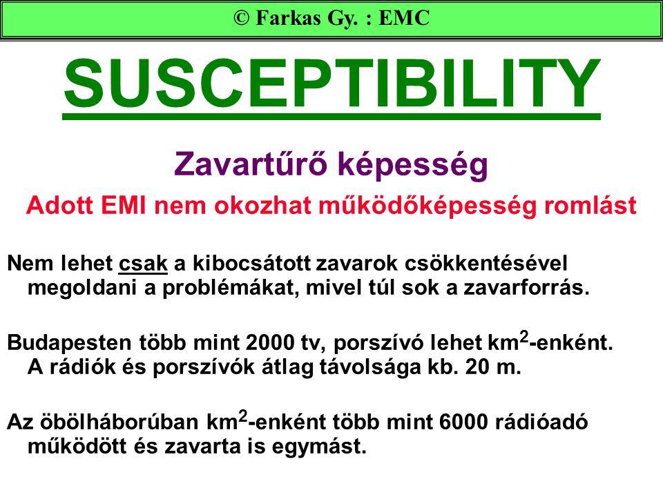 SUSCEPTIBILITY Zavartűrő képesség Adott EMI nem okozhat működőképesség romlást Nem lehet csak a kibocsátott zavarok csökkentésével megoldani a problémákat, mivel túl sok a zavarforrás.