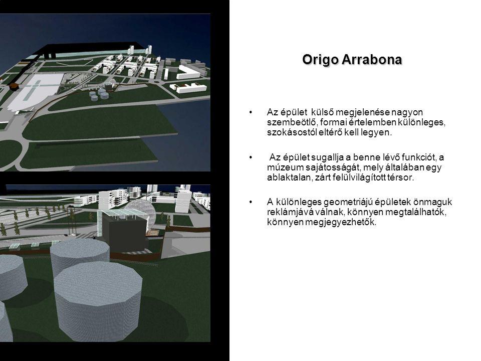 Origo Arrabona Az épület külső megjelenése nagyon szembeötlő, formai értelemben különleges, szokásostól eltérő kell legyen. Az épület sugallja a benne