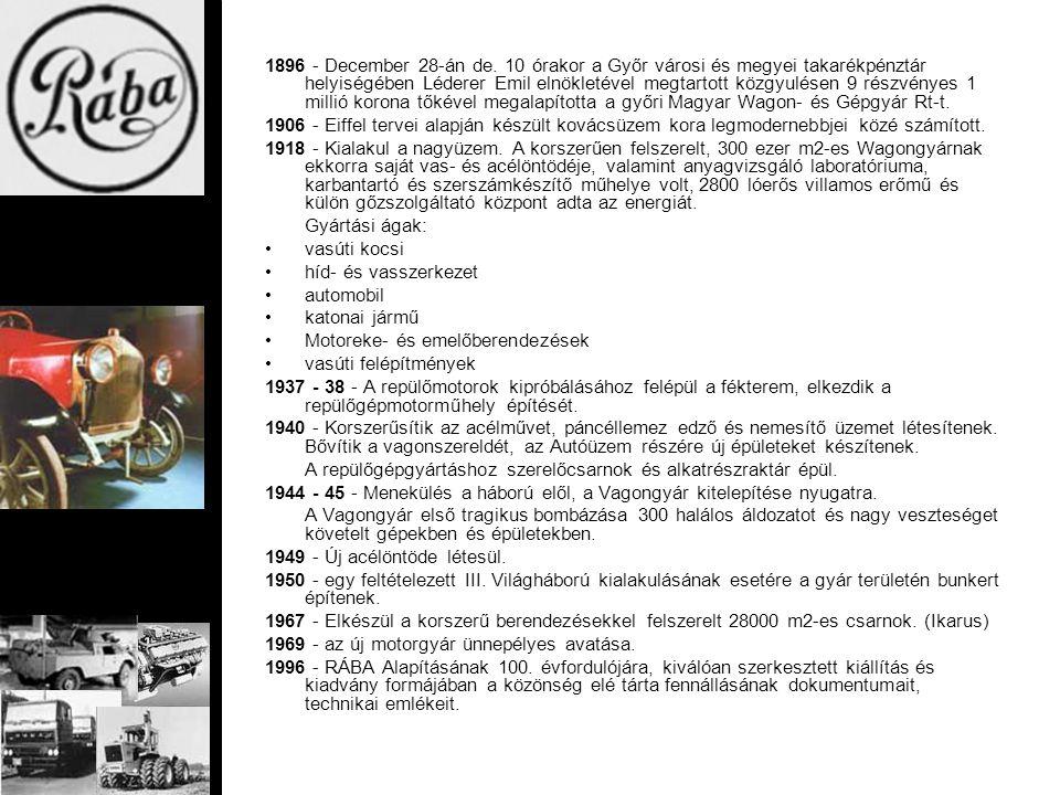1896 - December 28-án de. 10 órakor a Győr városi és megyei takarékpénztár helyiségében Léderer Emil elnökletével megtartott közgyulésen 9 részvényes
