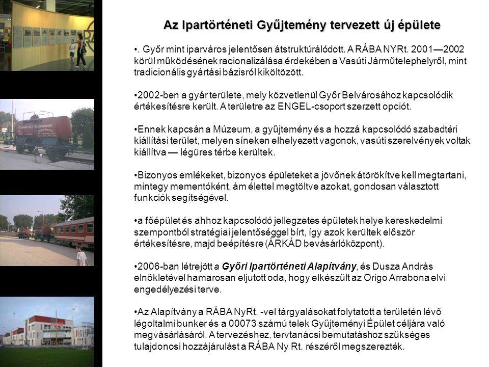 Az Ipartörténeti Gyűjtemény tervezett új épülete. Győr mint iparváros jelentősen átstruktúrálódott. A RÁBA NYRt. 2001—2002 körül működésének racionali