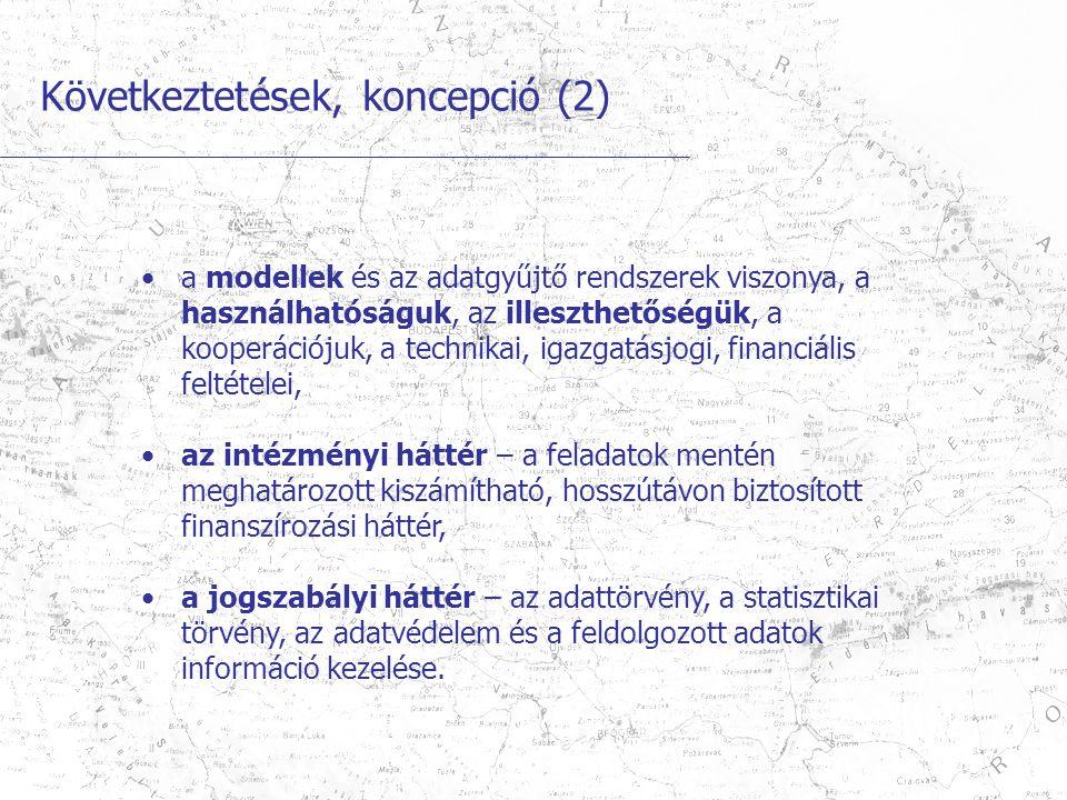 Következtetések, koncepció (2) a modellek és az adatgyűjtő rendszerek viszonya, a használhatóságuk, az illeszthetőségük, a kooperációjuk, a technikai, igazgatásjogi, financiális feltételei, az intézményi háttér – a feladatok mentén meghatározott kiszámítható, hosszútávon biztosított finanszírozási háttér, a jogszabályi háttér – az adattörvény, a statisztikai törvény, az adatvédelem és a feldolgozott adatok információ kezelése.