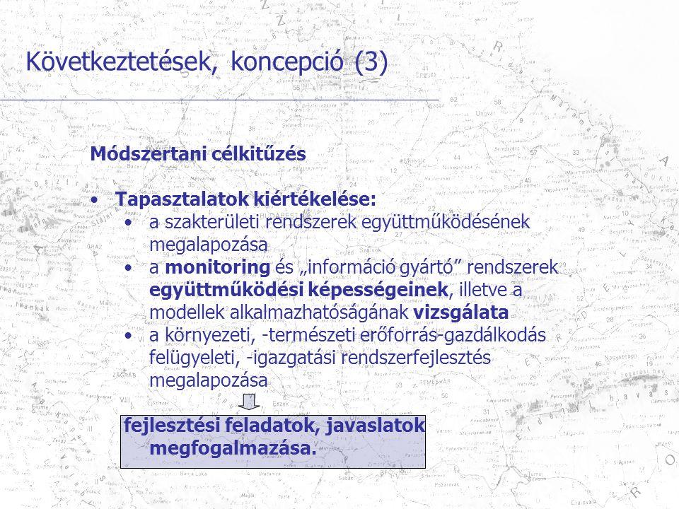 """Következtetések, koncepció (3) Módszertani célkitűzés Tapasztalatok kiértékelése: a szakterületi rendszerek együttműködésének megalapozása a monitoring és """"információ gyártó rendszerek együttműködési képességeinek, illetve a modellek alkalmazhatóságának vizsgálata a környezeti, -természeti erőforrás-gazdálkodás felügyeleti, -igazgatási rendszerfejlesztés megalapozása fejlesztési feladatok, javaslatok megfogalmazása."""