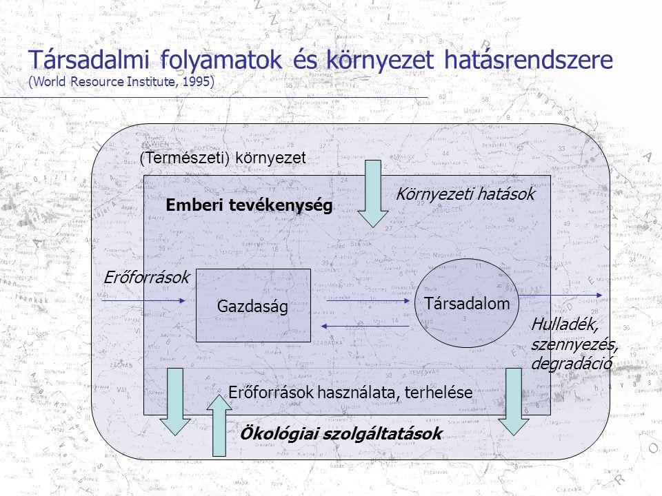 Társadalmi folyamatok és környezet hatásrendszere (World Resource Institute, 1995) (Természeti) környezet Emberi tevékenység Erőforrások Erőforrások használata, terhelése Környezeti hatások Gazdaság Társadalom Ökológiai szolgáltatások Hulladék, szennyezés, degradáció