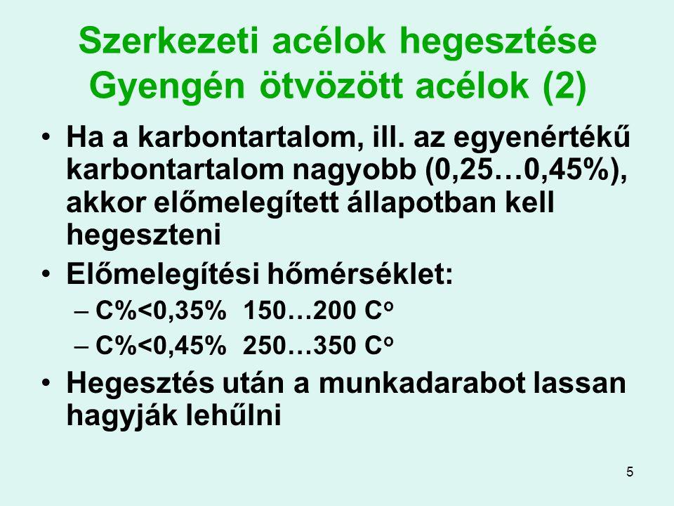 5 Szerkezeti acélok hegesztése Gyengén ötvözött acélok (2) Ha a karbontartalom, ill. az egyenértékű karbontartalom nagyobb (0,25…0,45%), akkor előmele