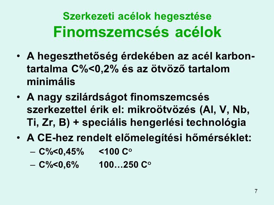 7 Szerkezeti acélok hegesztése Finomszemcsés acélok A hegeszthetőség érdekében az acél karbon- tartalma C%<0,2% és az ötvöző tartalom minimális A nagy