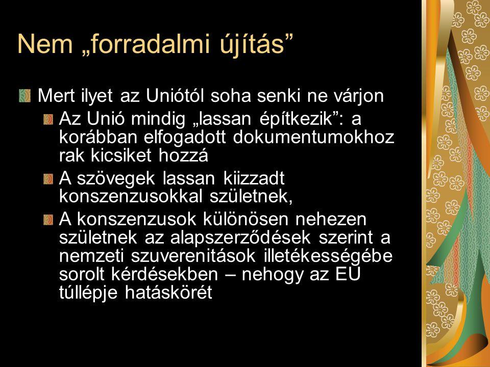 """Nem """"forradalmi újítás Mert ilyet az Uniótól soha senki ne várjon Az Unió mindig """"lassan építkezik : a korábban elfogadott dokumentumokhoz rak kicsiket hozzá A szövegek lassan kiizzadt konszenzusokkal születnek, A konszenzusok különösen nehezen születnek az alapszerződések szerint a nemzeti szuverenitások illetékességébe sorolt kérdésekben – nehogy az EU túllépje hatáskörét"""