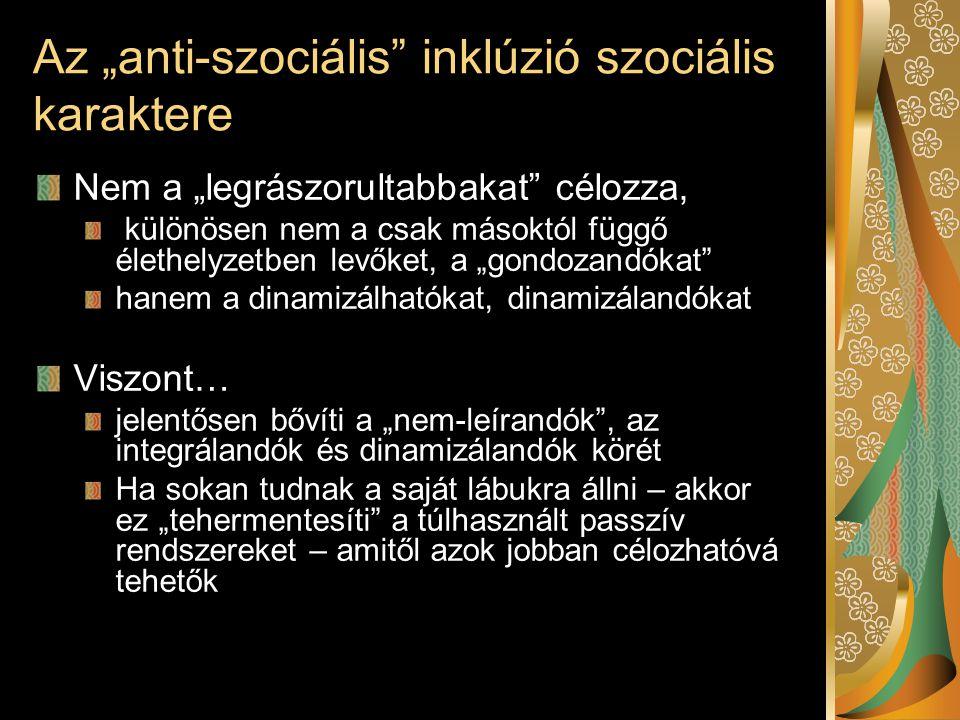 """Az """"anti-szociális"""" inklúzió szociális karaktere Nem a """"legrászorultabbakat"""" célozza, különösen nem a csak másoktól függő élethelyzetben levőket, a """"g"""