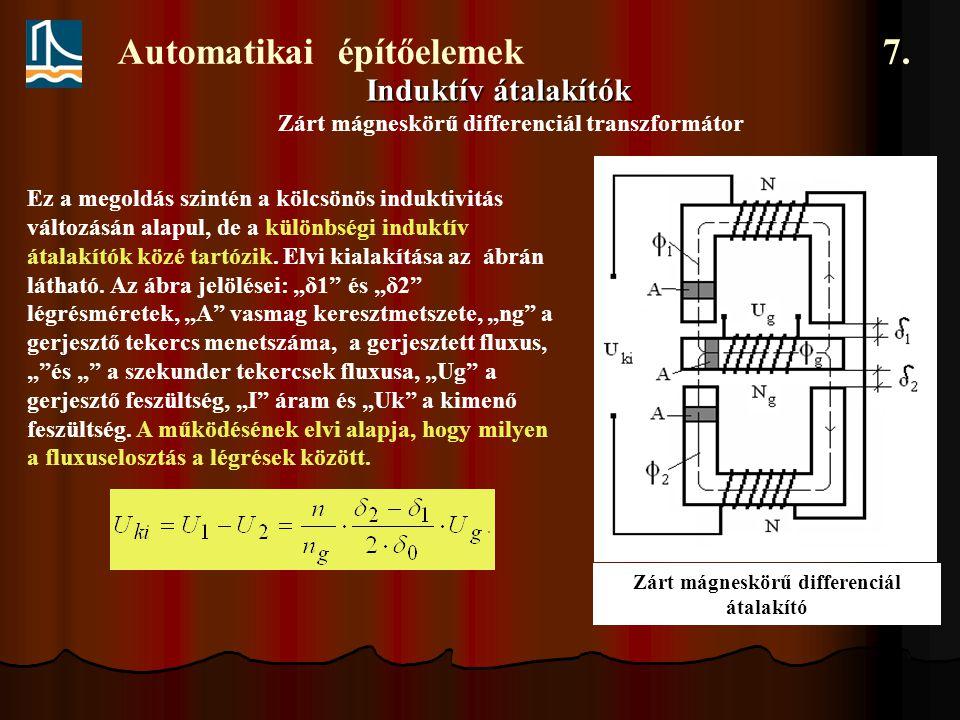 Automatikai építőelemek 7. Induktív átalakítók Zárt mágneskörű differenciál transzformátor Ez a megoldás szintén a kölcsönös induktivitás változásán a