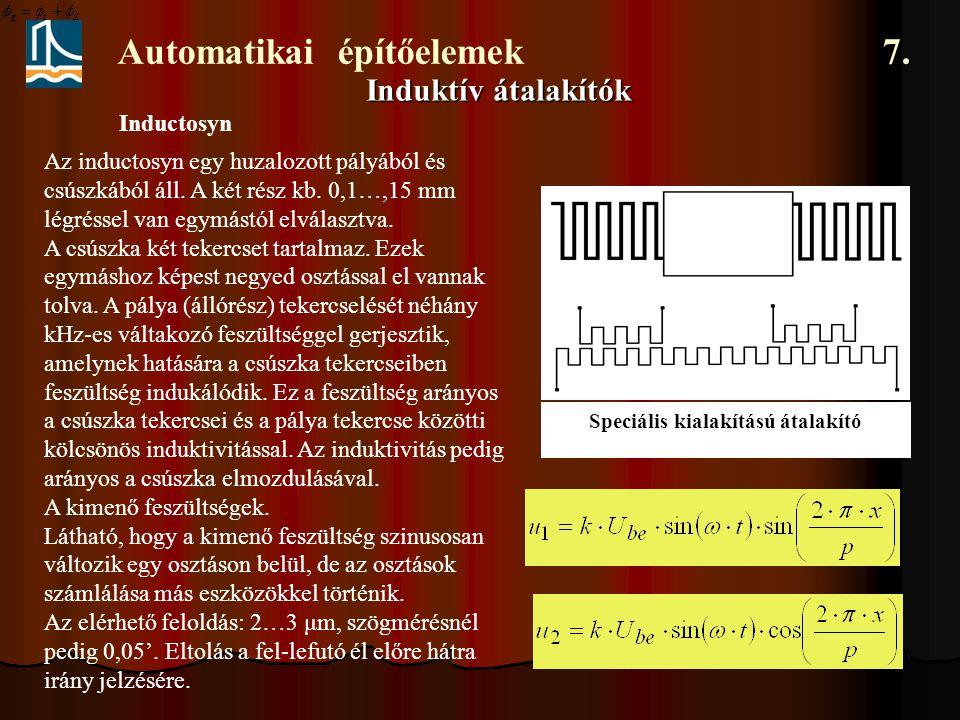 Automatikai építőelemek 7. Induktív átalakítók Inductosyn Speciális kialakítású átalakító Az inductosyn egy huzalozott pályából és csúszkából áll. A k