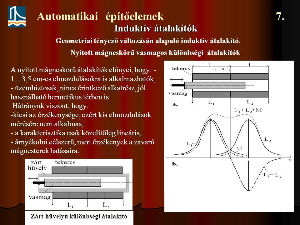 Automatikai építőelemek 7. Induktív átalakítók Geometriai tényező változásán alapuló induktív átalakító. Nyitott mágneskörű vasmagos különbségi átalak