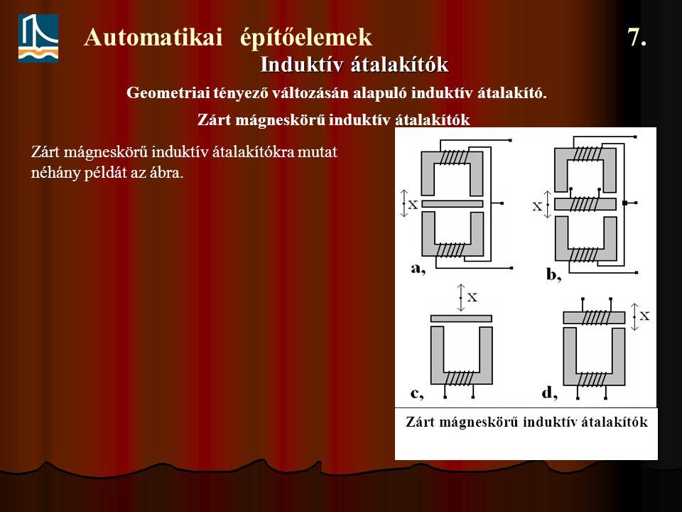 Automatikai építőelemek 7. Induktív átalakítók Geometriai tényező változásán alapuló induktív átalakító. Zárt mágneskörű induktív átalakítók Zárt mágn