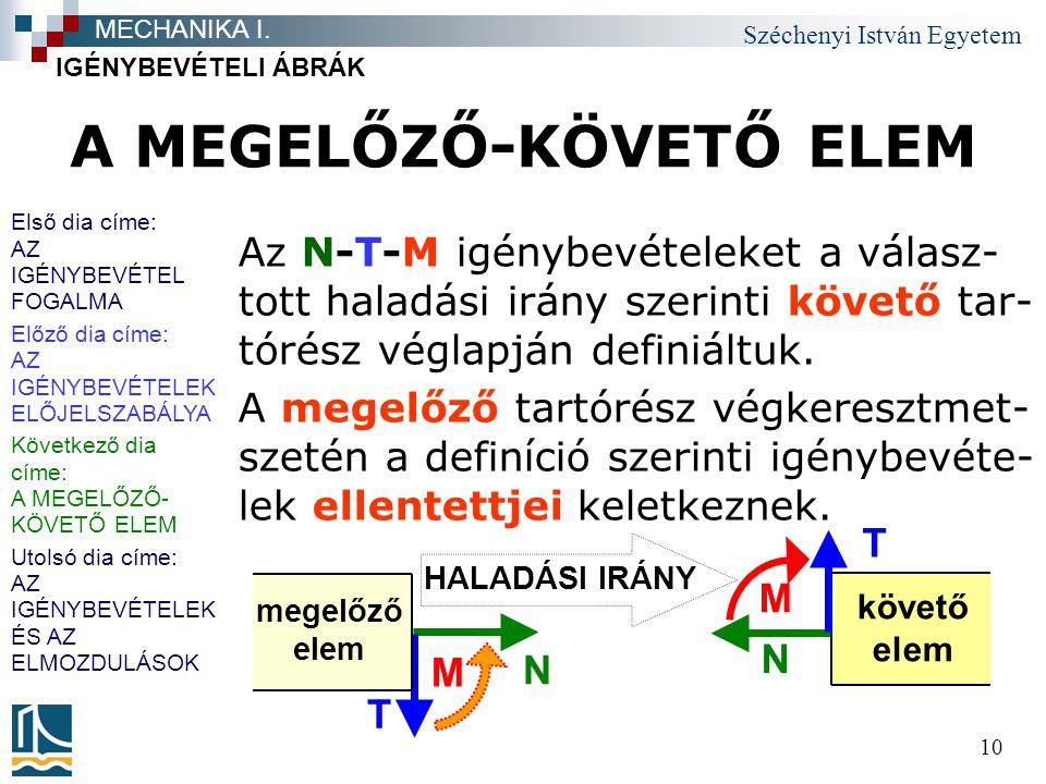 Széchenyi István Egyetem 10 A MEGELŐZŐ-KÖVETŐ ELEM Az N-T-M igénybevételeket a válasz- tott haladási irány szerinti követő tar- tórész véglapján definiáltuk.
