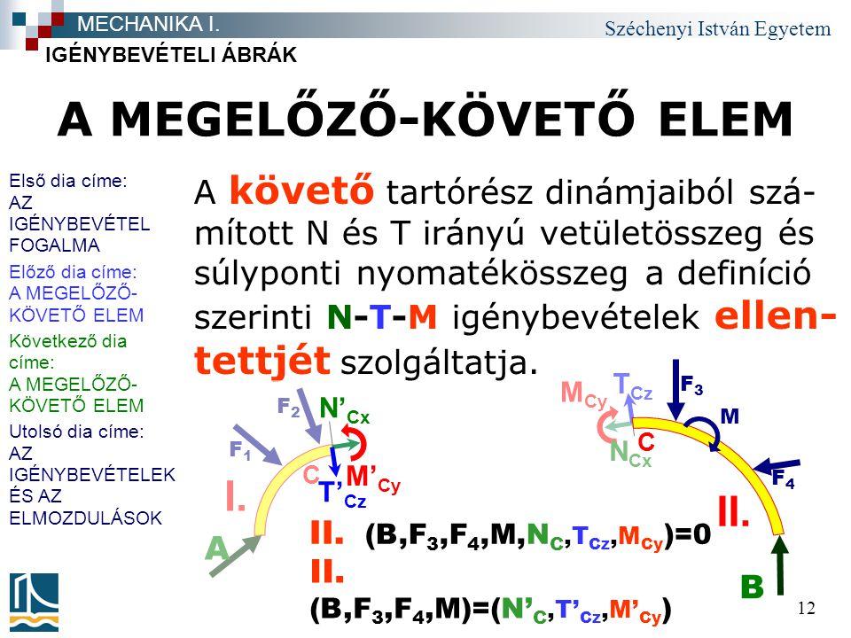 Széchenyi István Egyetem 12 A MEGELŐZŐ-KÖVETŐ ELEM A követő tartórész dinámjaiból szá- mított N és T irányú vetületösszeg és súlyponti nyomatékösszeg