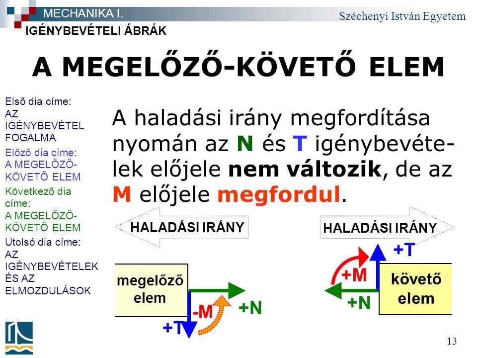 Széchenyi István Egyetem 13 A MEGELŐZŐ-KÖVETŐ ELEM A haladási irány megfordítása nyomán az N és T igénybevéte- lek előjele nem változik, de az M előjele megfordul.
