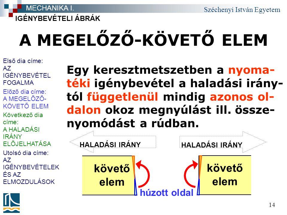 Széchenyi István Egyetem 14 A MEGELŐZŐ-KÖVETŐ ELEM Egy keresztmetszetben a nyoma- téki igénybevétel a haladási irány- tól függetlenül mindig azonos ol