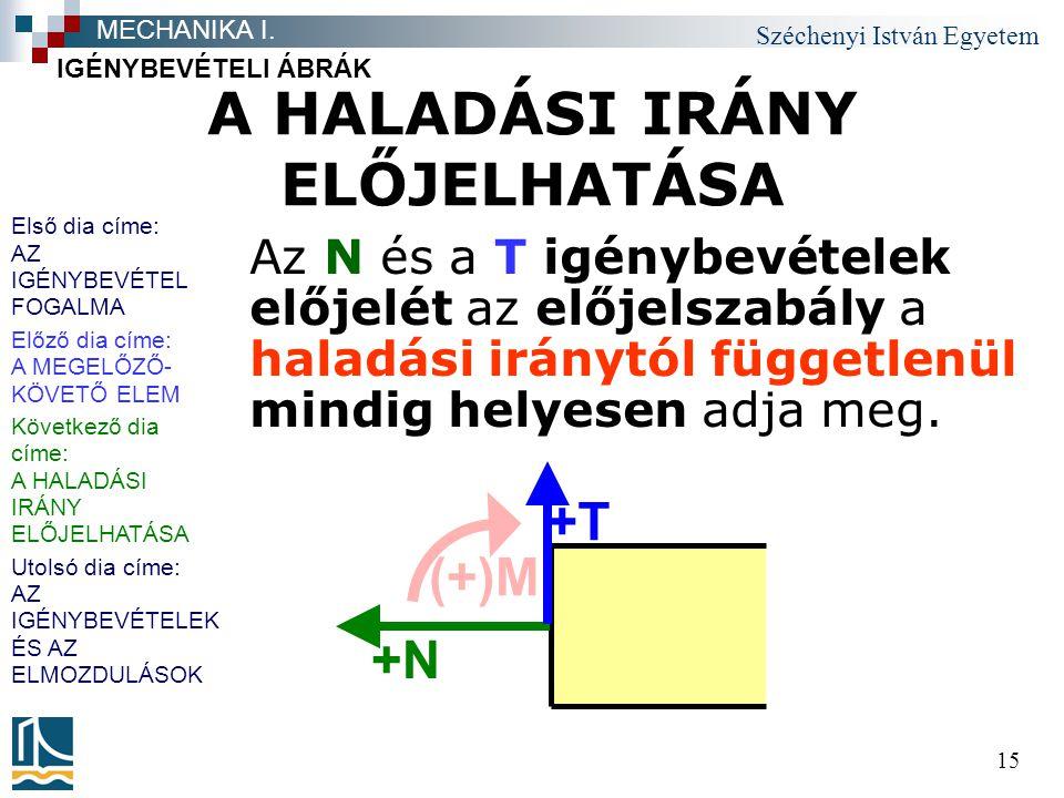 Széchenyi István Egyetem 15 A HALADÁSI IRÁNY ELŐJELHATÁSA Az N és a T igénybevételek előjelét az előjelszabály a haladási iránytól függetlenül mindig