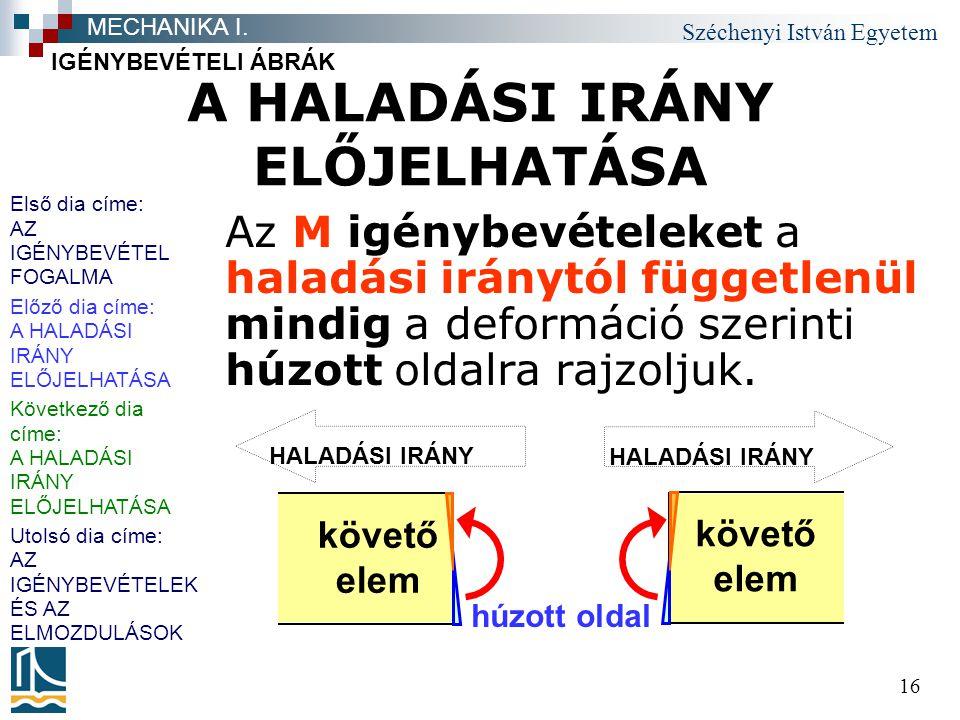 Széchenyi István Egyetem 16 A HALADÁSI IRÁNY ELŐJELHATÁSA Az M igénybevételeket a haladási iránytól függetlenül mindig a deformáció szerinti húzott ol