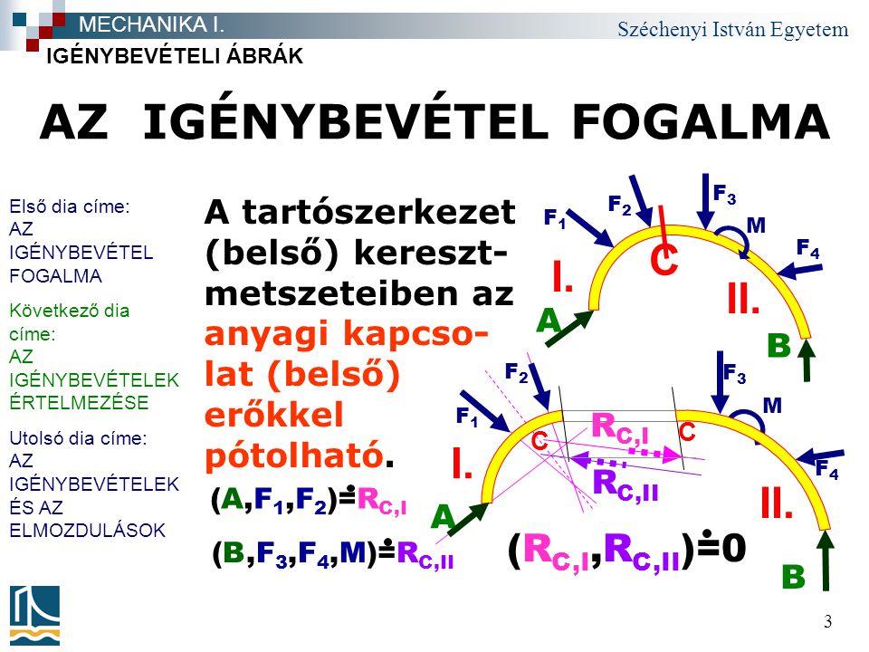 Széchenyi István Egyetem 3 AZ IGÉNYBEVÉTEL FOGALMA A tartószerkezet (belső) kereszt- metszeteiben az anyagi kapcso- lat (belső) erőkkel pótolható. IGÉ
