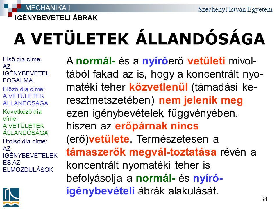 Széchenyi István Egyetem 34 A VETÜLETEK ÁLLANDÓSÁGA IGÉNYBEVÉTELI ÁBRÁK MECHANIKA I. A normál- és a nyíróerő vetületi mivol- tából fakad az is, hogy a