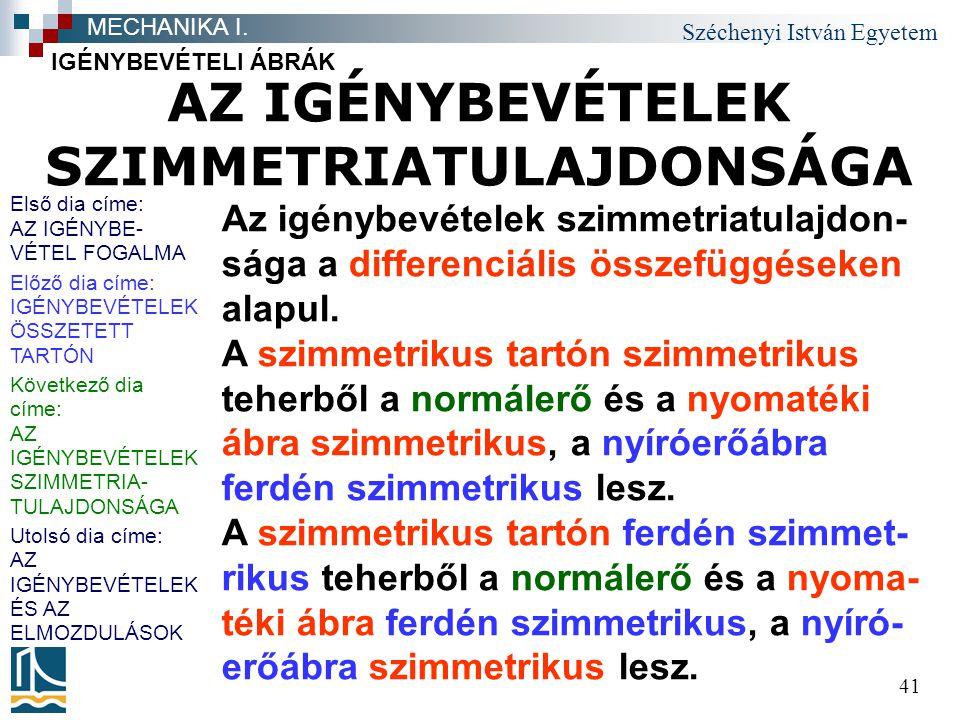 Széchenyi István Egyetem 41 AZ IGÉNYBEVÉTELEK SZIMMETRIATULAJDONSÁGA IGÉNYBEVÉTELI ÁBRÁK MECHANIKA I. Az igénybevételek szimmetriatulajdon- sága a dif