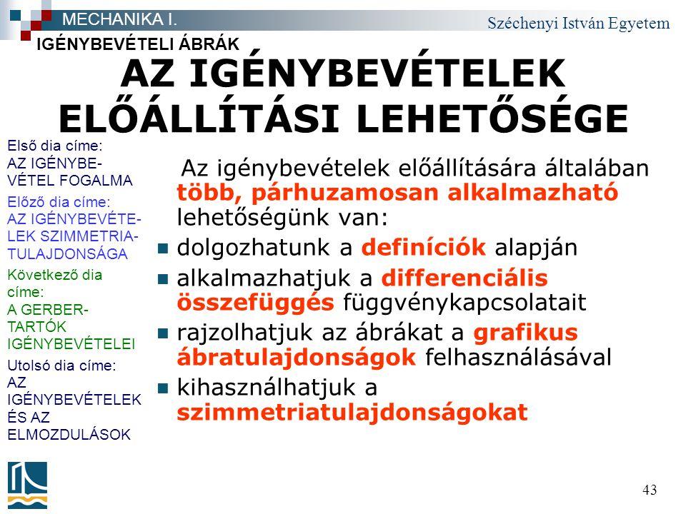 Széchenyi István Egyetem 43 AZ IGÉNYBEVÉTELEK ELŐÁLLÍTÁSI LEHETŐSÉGE Az igénybevételek előállítására általában több, párhuzamosan alkalmazható lehetős