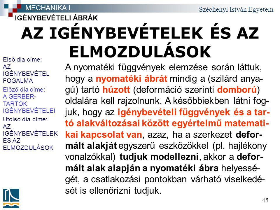 Széchenyi István Egyetem 45 AZ IGÉNYBEVÉTELEK ÉS AZ ELMOZDULÁSOK IGÉNYBEVÉTELI ÁBRÁK MECHANIKA I. A nyomatéki függvények elemzése során láttuk, hogy a